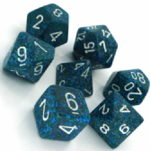 Blue & White 'Sea' Speckled Polyhedral 7 Dice Set
